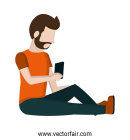 man sitting with smartphone social communication