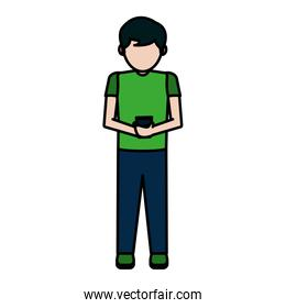 color child boy with smartphone social chat
