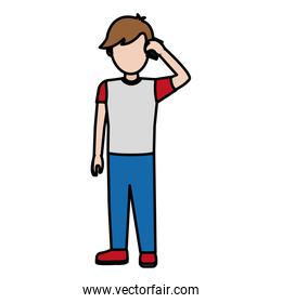 color child boy calling with social smartphone
