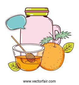 orange juice in the jar with honey and chat bubble