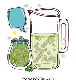 cucumber and leaves juice in the jar and chat bubble