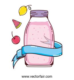 healthy fruits juice in the jar and ribbon