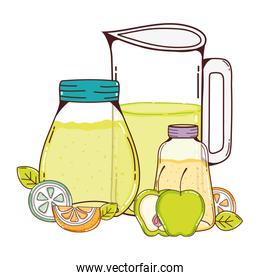 delicious fruits juice in the jar with ribbon