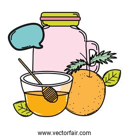 color orange juice in the jar with honey and chat bubble