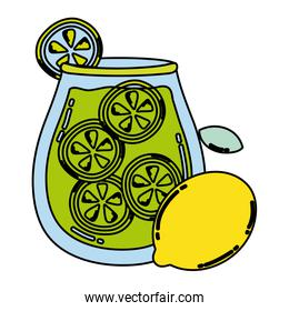 color healthy lemon and cucumber juice in the jar