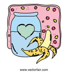 color banana and cherries juice in the jar with heart