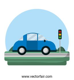 car transport in the road with traffic light