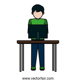 color boy with electronic computer in the wood desk