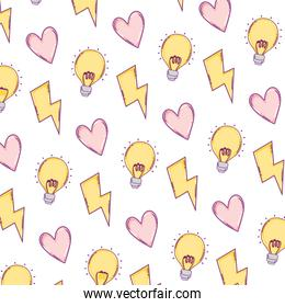 hazard energy with heart and bulb background