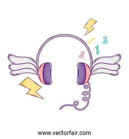 headphones object with wings and thunders style