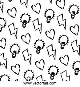 line hazard energy with heart and bulb background
