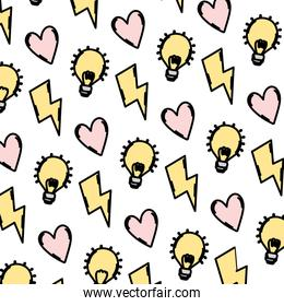 color hazard energy with heart and bulb background