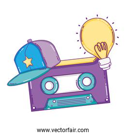 retro cassette tape with cap and bulb
