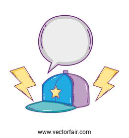 cap cassette with chat bubble and rays
