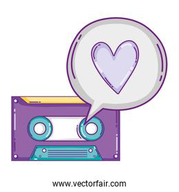 retro cassete tape with heart inside chat bubble
