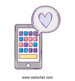 smartphone with apps and heart inside chat bubble