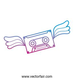 degraded line cassette retro tape with wings style