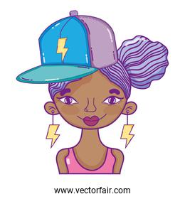 woman hairstyle with cap accessory and rays earrings