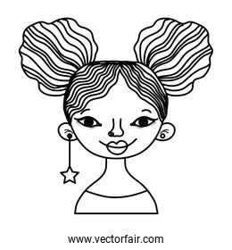 line woman with hairstyle and star long earing
