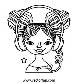 line woman with headphone accessory and star earring