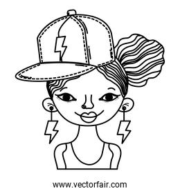 line woman hairstyle with cap accessory and rays earrings