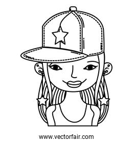 line woman with cap accessory and star long earrings