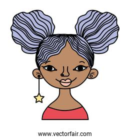 color woman with hairstyle and star long earing