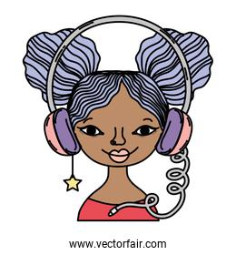 color woman with headphone accessory and star earring