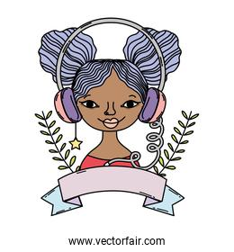 color woman wear headphones accessory with branches and ribbon