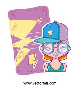 woman with glasses and letter with stars design