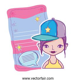 woman cap and letter with letter and chat bubble style