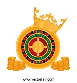 crown and roulette with coins casino game
