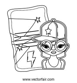 line woman with glasses and letter with stars design