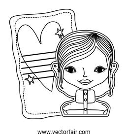 line woman and letter with heart and stars decoration