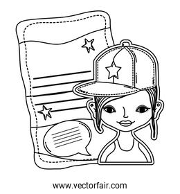line woman cap and letter with letter and chat bubble style