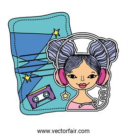 color woman with headphone and letter with casseste decoration