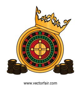color crown and roulette with coins casino game