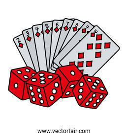 color diamond poker cards and dices game