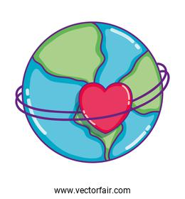 earth planet global with heart decoration