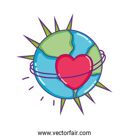 earth planet with thorns and heart decoration