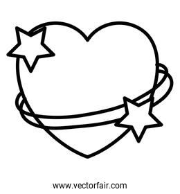 line heart symbol with stars shapes decoration