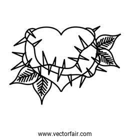 line heart with thorns and plant branches leaves