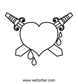 line swords weapon inside heart and blood drops