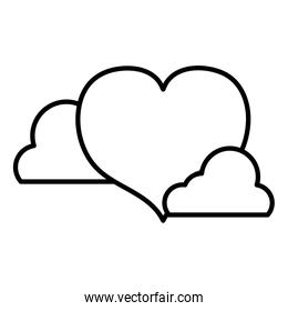 line heart shape love symbol with clouds