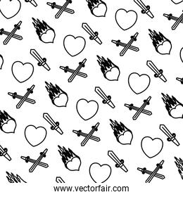 line hearts and passion fire with swords background