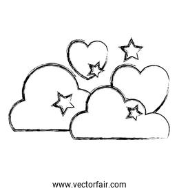 grunge fluffy clouds with stars and heart style