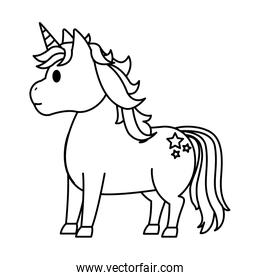 line cute unicorn with stars tattoo style
