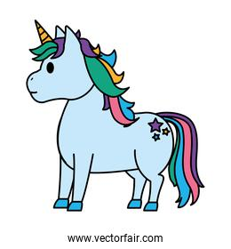 color cute unicorn with stars tattoo style