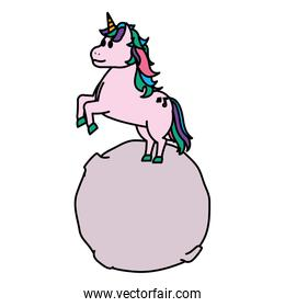 color nice unicorn with hairstyle jumping in the moon