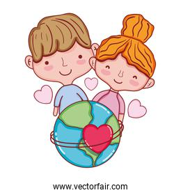 beauty couple with earth planet and hearts